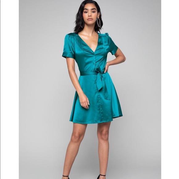 bebe Dresses & Skirts - Bebe Charmeuse Shirt Dress Blue Lagoon Tie XS NWT